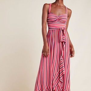 Anthropologie ruffled maxi striped dress